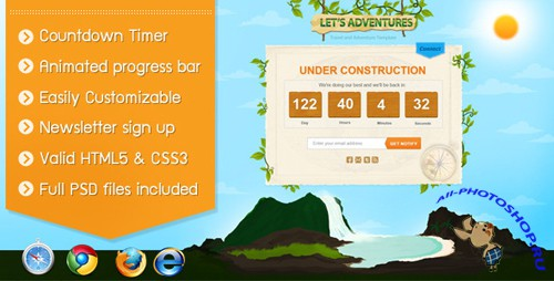 ThemeForest - Lets Adventures Under Construction Page - Rip