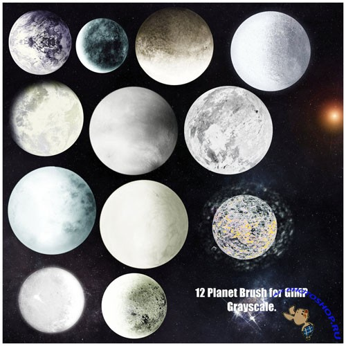 12 Planet Brushes Set for GIMP
