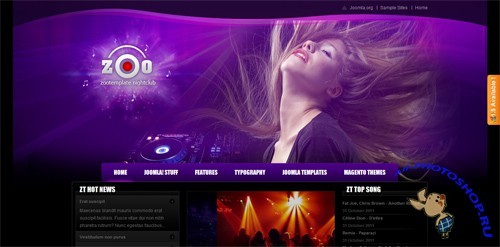 ZT Zoo Night club joomla template J1.7