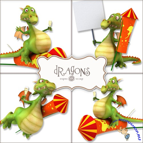 Scrap-kit - Dragons Illustrations #2