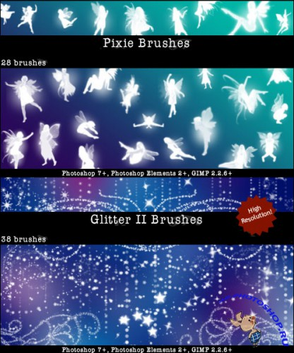 Pixie Fairy Brushes and Glitter II Brushes