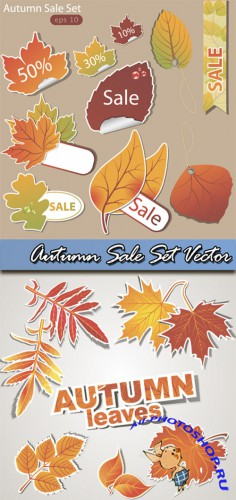 Autumn Sale Set Vector