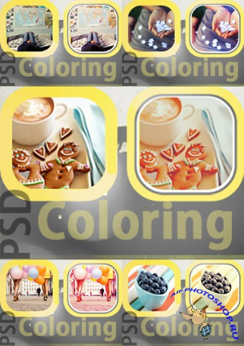 PSD Coloring action pack