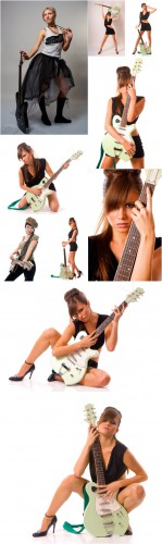 Photo Cliparts - Girl with guitar