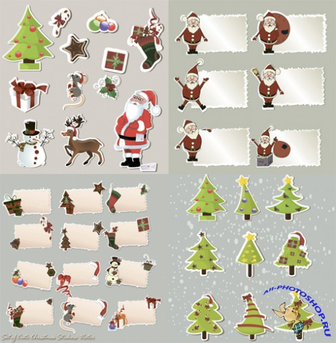 Set of Cute Christmas Stickers Vector