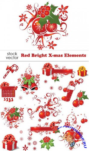 Red Bright X-mas Elements