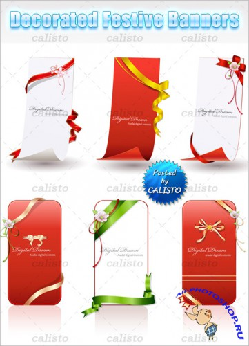 Decorated Festive Banners Vector Templates