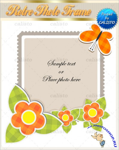 Retro Photo Frame Vector Templates