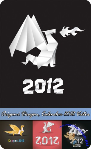 Origami Dragon, Calendar 2012 Vector
