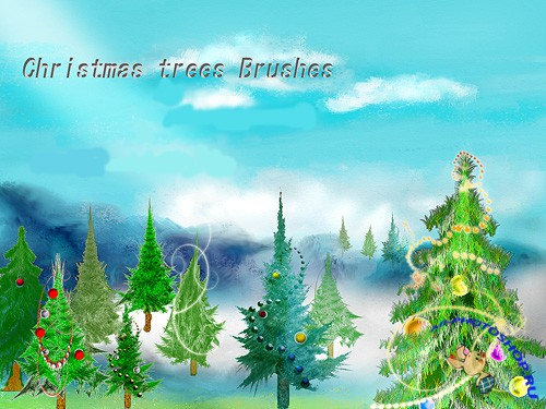 Christmas Green Trees Brushes