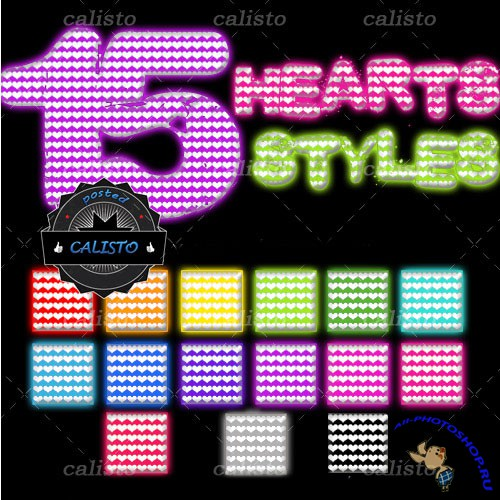 15 Hearts Styles for Photoshop
