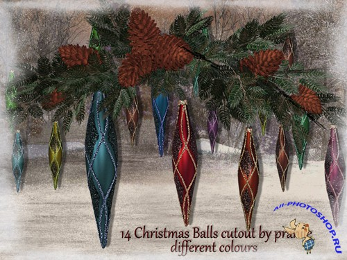 Christmas Balls 1 Cutout stock