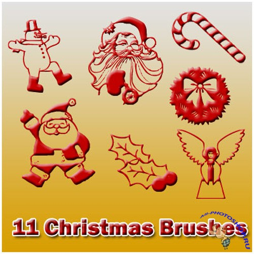 11 Christmas Brushes Set