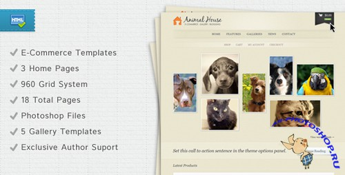 ThemeForest - Animal House - E-Commerce and Blogging Template Rip