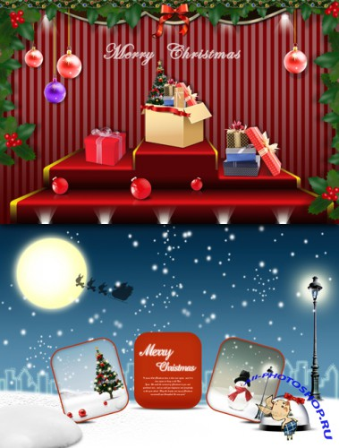 Bingtian snowy night Merry Christmas PSD image materials