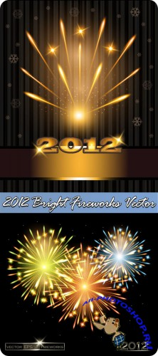 2012 Bright Fireworks Vector