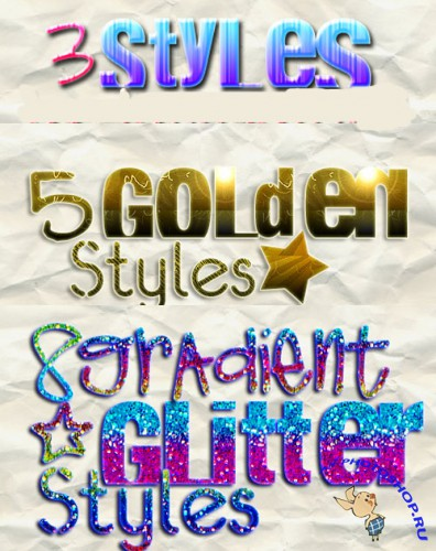 Golden Styles and Gradient Glitter text Styles