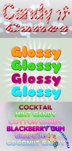 Candy and glossy text Photoshop styles