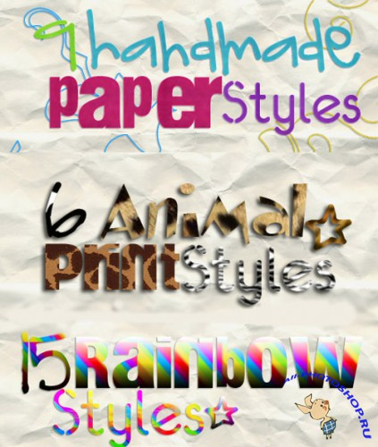 Photoshop Animal Print,  Handmade Paper Styles and Rainbow Styles