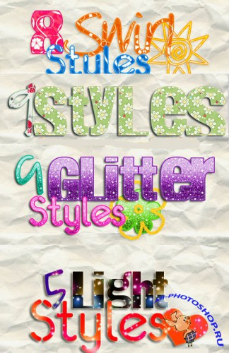 Photoshop Swirl, Glitter and  Light text Styles