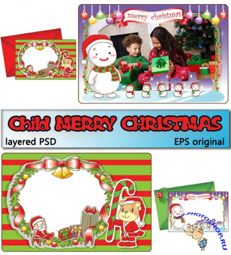 � ����� ����� ������ | Child Merry Christmas (PSD frames + EPS vectors)