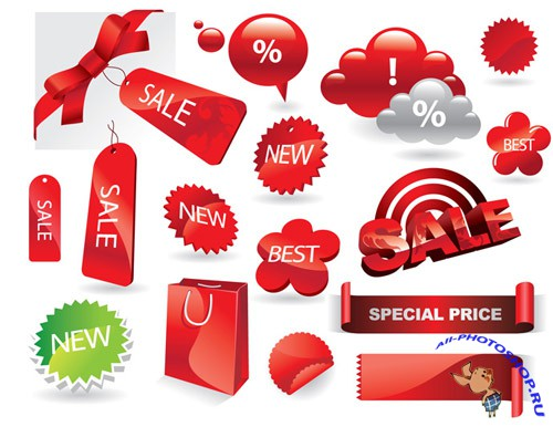 Red Shiny Sale Tags Vector Clipart