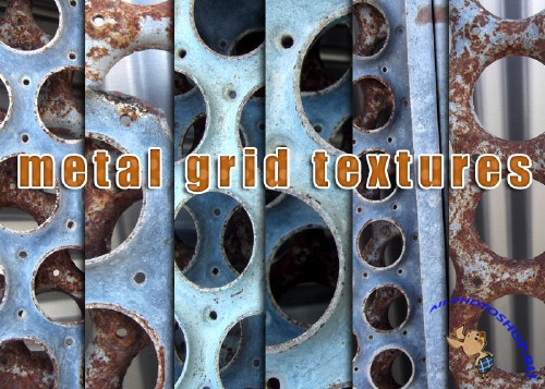 Metal Circle Grid Textures for Photoshop