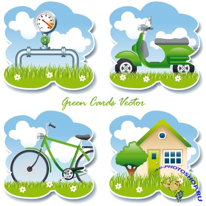 Green Cards Vector
