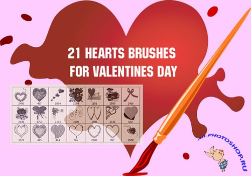21 Hearts Brushes for Valentines Day
