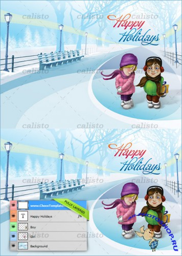 Christmas Holiday Card PSD Template