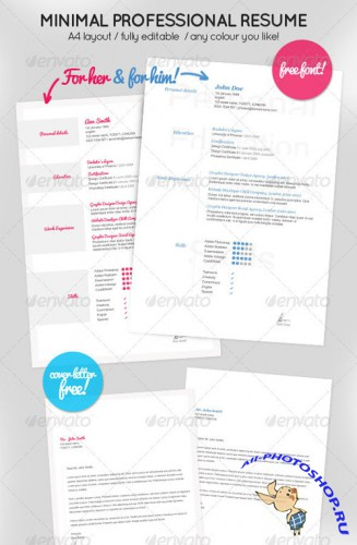 GraphicRiver - Minimal Resume for Her & Him + Cover letter