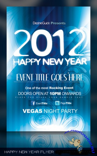 Happy New Year Flyer Poster PSD Template