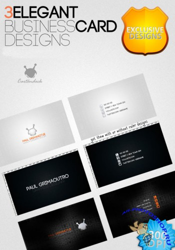 3 Elegant Business Card Designs PSD Template