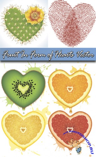Fruit In Form of Hearts Vector
