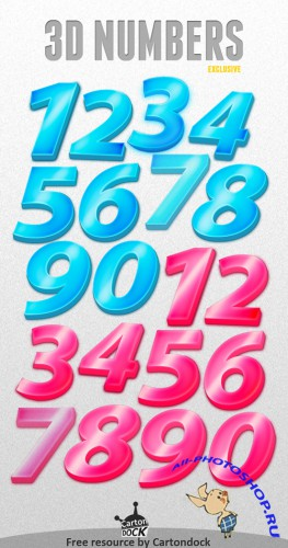 3D Numbers Exclusive Set PSD Template