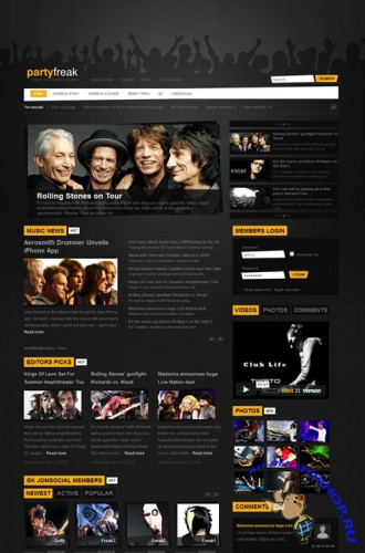 Gavick - PartyFreak v2.5j For Joomla 1.7 Template - Retail