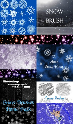 Collection of snow brushes pack 2 for Photoshop