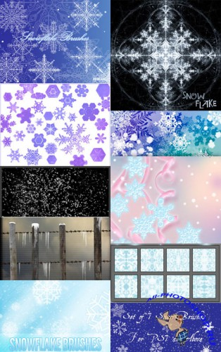 Collection of snow brushes pack 4 for Photoshop