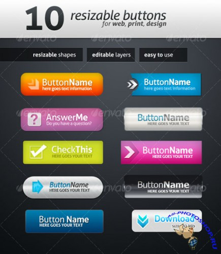 GraphicRiver - 10 Web Buttons 115357