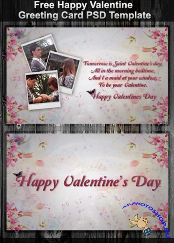 Happy Valentine Greeting Card PSD Template