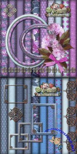Scrap-set - Blue And Pink Romantic Mix