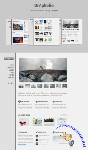 Dropholio – Free Homepage PSD Template