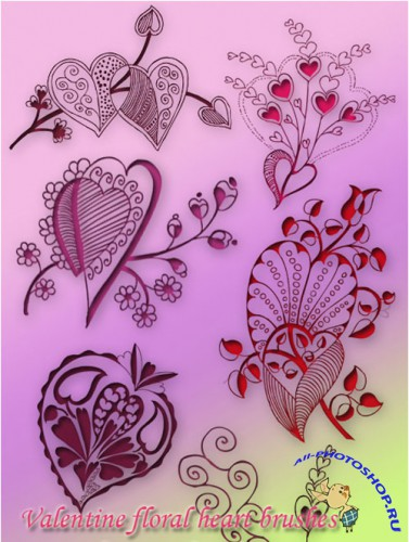 Valentine Floral Decorative Heart Brushes for Photoshop #1