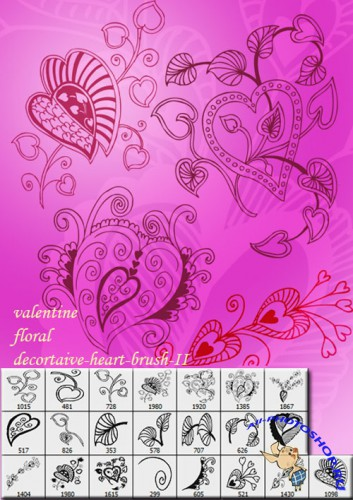 Valentine Floral Decorative Heart Brushes for Photoshop #2