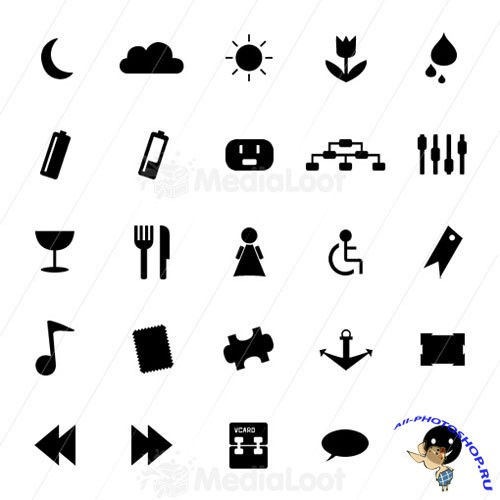 Monochrome Symbols Icon Set 4 - MediaLoot