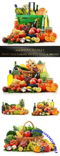 Shopping basket with vegetables, fruits, wine and bread