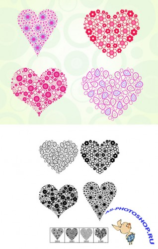 Hearts of Today Brushes Set for Photoshop
