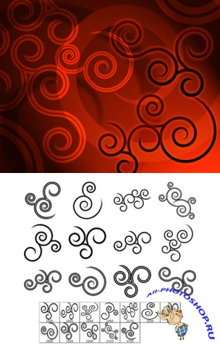 Pointy Spirals Brushes Set for Photoshop