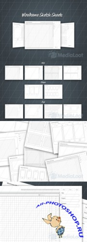 Wireframe Sketch Sheets - MediaLoot