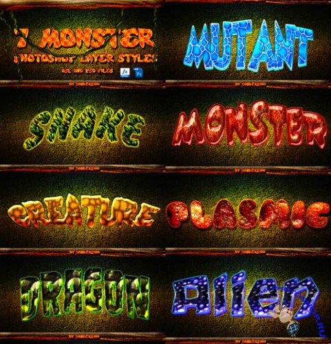 Photoshop Monsters Layer Styles